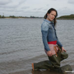 W301 Lea Gabrielle in waders in the river