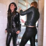 W325 Leila and Eileen in leather biker outfits