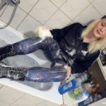 GWC02 Lulu taking a bath in galaxy leggings