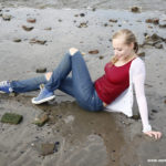 W230 Eileen in the river in red top white cardigan and jeans