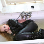 W237 Eileen taking a bath in a leather outfit
