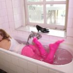 W287 Eileen showering in pink pantyhose and white dress