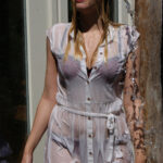W304 Eileen in white dress and lingerie soaking wet