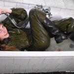 W331 Eileen bathing in Green Raingear